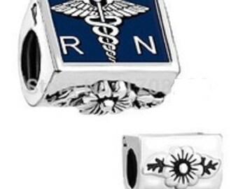 NURSING SYMBOL Charm--- RN Charm, beautiful enamel, Silver / Slider Charm, New