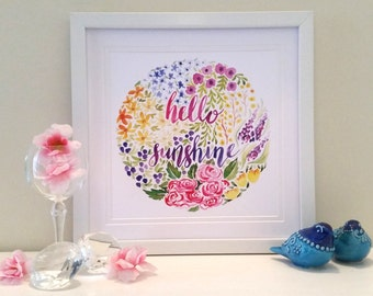 Hello Sunshine Circular Floral Watercolour Print, home decor, wall art, flowers, roses, circle of flowers