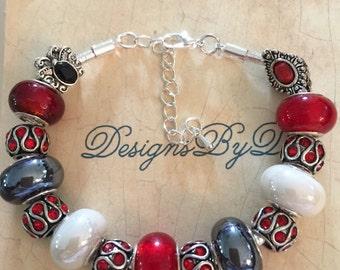 Red, White and Black European Style Bracelet
