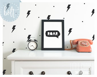 Lightning Bolt & Polka Dots Wall Decals Vinyl Stickers for Boys or Girls Nursery OR Kids Room_10x6cm_ID#1430
