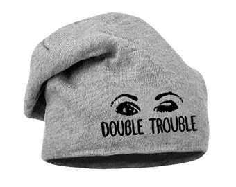 Double Trouble – Funny beanie for the rebel women which will make you look bad ass :) - handpainted lettering