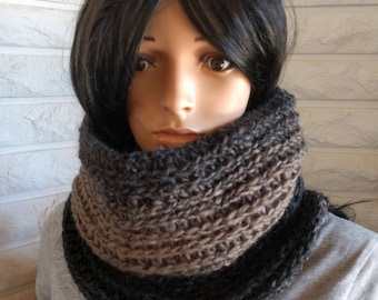CLEARANCE Women's cowl, neck scarf, black, grey and tan cowl, infinity scarf, accessories, gifts for her, fall, winter and spring fashion