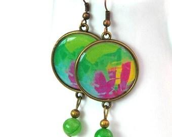 Bohemian earrings, Green Jade earrings, Gemstone earrings, Large statement earrings, Picture jewelry for women, 1104-green
