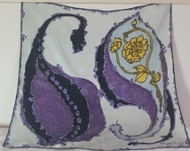 Batik motif silk scarf in black, yellow, white and purple by Maggy Rouff PARIS