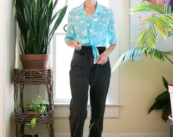 Vintage 80's 90's Semi Sheer Blouse | Teal Floral Shirt |  Oversized | Large | Boyfriend