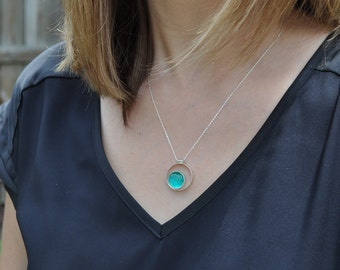 Aqua Glass. Simple Sterling Silver Double Circle Necklace