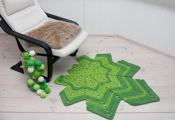 Green Leaf geformte Häkeldeckchen Teppich 45