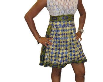 Lace Print Two-tone Dress