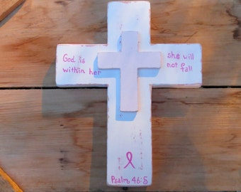 Breast Cancer Gift, Pink Wooden Cross, White Cross, Breast Cancer Ribbon, Wooden Wall Cross, Breast cancer pink, Distressed cross, Christian