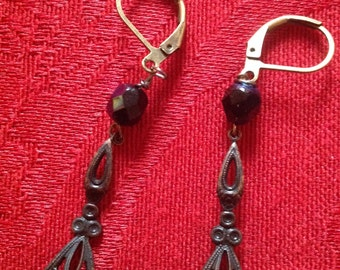 vintage style black brass dangles with black/clear crystal bead