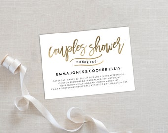 Couples Shower Invitation Template | Editable Invitation Printable | Rehearsal Dinner Invite Gold | No. PW 5365