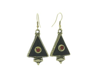 All Seeing Onyx Earrings, Brass Earrings, Black Onyx Earrings, Gypsy Earrings, Ethnic Earrings