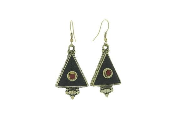 All Seeing Onyx Earrings, Brass Earrings, Black Onyx Earrings, Gypsy Earrings, Ethnic Earrings