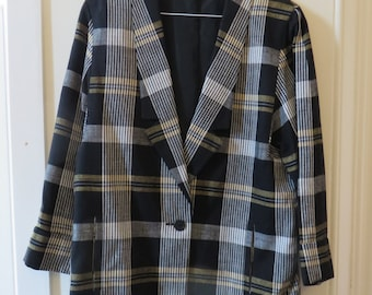 Vintage 80s Black, White and Yellow Plaid Checkered Blazer Jacket - UK 12 EU 40 US 8 - Preppy Smart