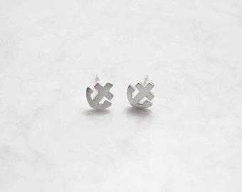 Sterling anchor stud earrings, children's stud earrings, minimalist stud earrings, children's jewelry, dainty earrings, anchor earrings