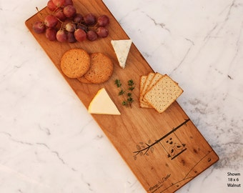 Love Birds Personalized Cheese Board Engraved Custom, Wedding Gift Love Tree Bride and Groom Engraved Couples Gift Charcuterie Serving Board