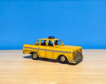 Vintage yellow NYC taxi miniature,toy NYC taxi, retro collection, decorative collectible,NYC miniature model,dollhouse decor,home decor
