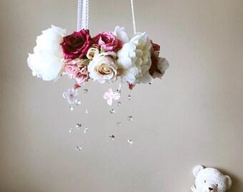 Baby mobile, Floral mobile, Genuine Swarovski crystal mobile / Crib mobile, Vintage inspired, Wedding chandelier, Vintage rose, Blush mobile