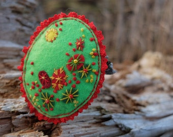 Colorful brooch, Felt Embroidery, Felt lace brooch, Gift for mom, Embroidery art, French knot, Green Red Yellow, Textile jewelry, Summer