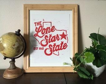 The Lone Star Sate - Block Print