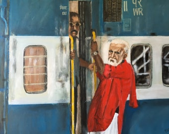 Western Railway,Indian wall art,Porter at a indian train station
