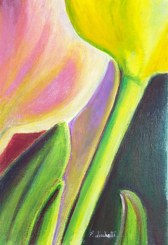 Acrylics painting, macro flowers, original picture, gift idea for her, modern home office decoration, bedroom art, lovely and bright colours