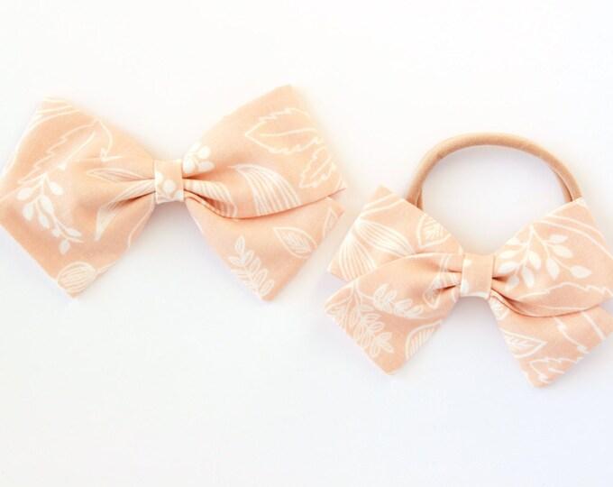 Rifle Paper Co Bow - Queen Anne Bow - Peach Hair Bow For Girls