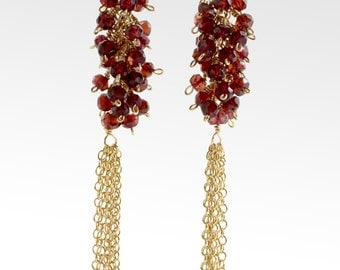Gold filled faceted garnet wire wrapped tassel earrings