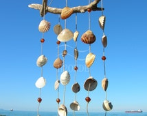 Driftwood wind chime seashell,dream catcher,beads twine,garden decor, pool area patio decoration, rustic beach house,gift idea,window decor