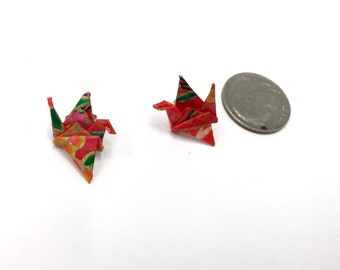 Tiny Origami Crane Studs, Stud Earrings, Origami Studs, Japanese Earrings - Red and Gold