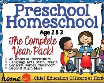 Homeschool Preschool Age 2-3 Complete Year Curriculum Bundle