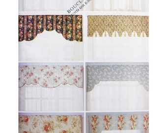 Uncut Butterick 6568 Sewing Pattern, Reversible Valences for 36 42 48 Inch Windows, Valences Pattern Curtains, Shabby Chic Home Decor