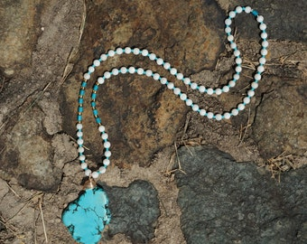 White And Turquoise Beaded Long Necklace