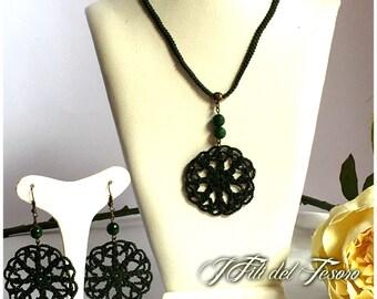 Crochet crochet necklace/necklace/Mandala/Choker/bronze/Handmade/Crochet mandala/jade/green/Sarabanda/Vintage/Gift for her/Spring