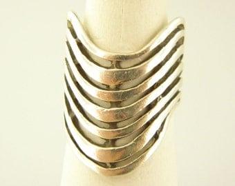 Sterling Silver 925 Modernist Wave, Fishbone Ring,  Size 5.25
