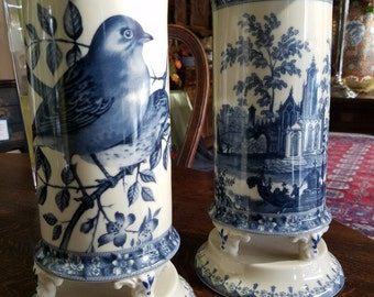 "Pair of porcelain  vases in blue an white 11"" x 6"""