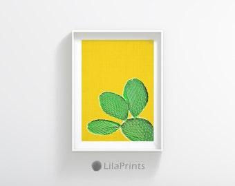 Tropical Decor, Yellow Art, Plant Print, Tropical Wall Art Decor, Yellow And Green Printable Art, Abstract Printable Art, Plant Photography