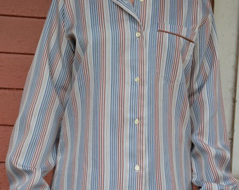 Vintage silk striped collared button up blouse