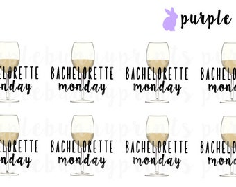 Bachelorette OR Bachelor Monday Wine Glasses // Planner Stickers!