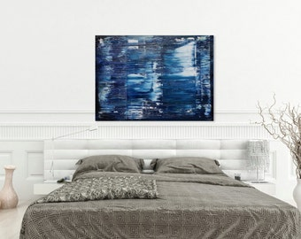 Ocean blues gerhard richter style abstract painting in oil
