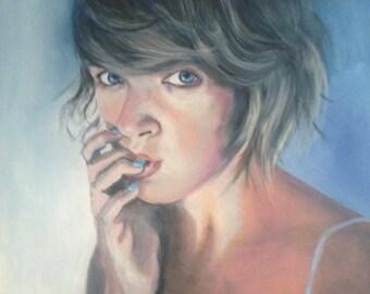 Marita Square Painting Portrait  Original Handmade Blue and White   by MIchela Caffagna
