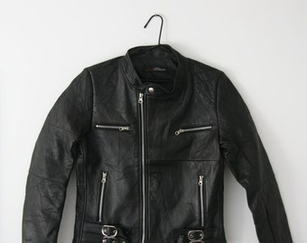 Womens Buckled Leather Biker Jacket