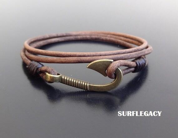 Fish hook bracelet fish hook leather bracelet mens by for Mens fishing bracelet