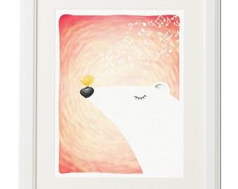 White bear spring song -Instant download poster-Bear illustration-Illustration print-Kids wall art-Nursery decor-Animal print-Printable art