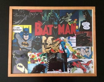Custom Batman Picture Collage in Wooden Frame