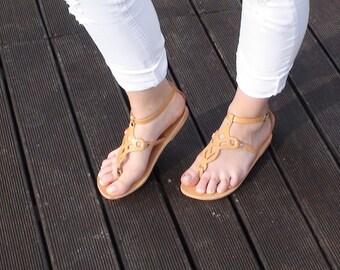 Sandals, Greek sandals, Strap sandals, Tan sandals, Ankle strap sandals, Leather sandals, Flat sandals, Women Sandals, Women shoes, PHAEDRA