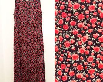 Vintage 90s Rose Floral Sleeveless Maxi Dress Size 8