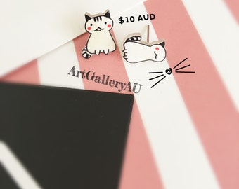 Kawaii Cat Handmade Stud Earrings, Cute Kitty Studs, Mismatched Kitten Earrings, Animal Earrings, Gift for Her