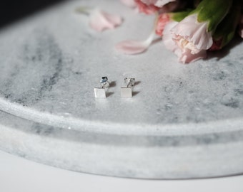 Flat Square Sterling Silver Minimalist Earring   Small Simple Tiny Dainty Geometric Stud   925 Silver Hypoallergenic 100% Sterling Silver