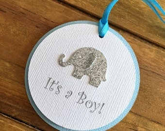 12 Elephant Tags, Elephant Favor Tags, Elephant Baby Shower, Elephant Thank You Tag, blue elephant, Elephant party decoration, it's a boy